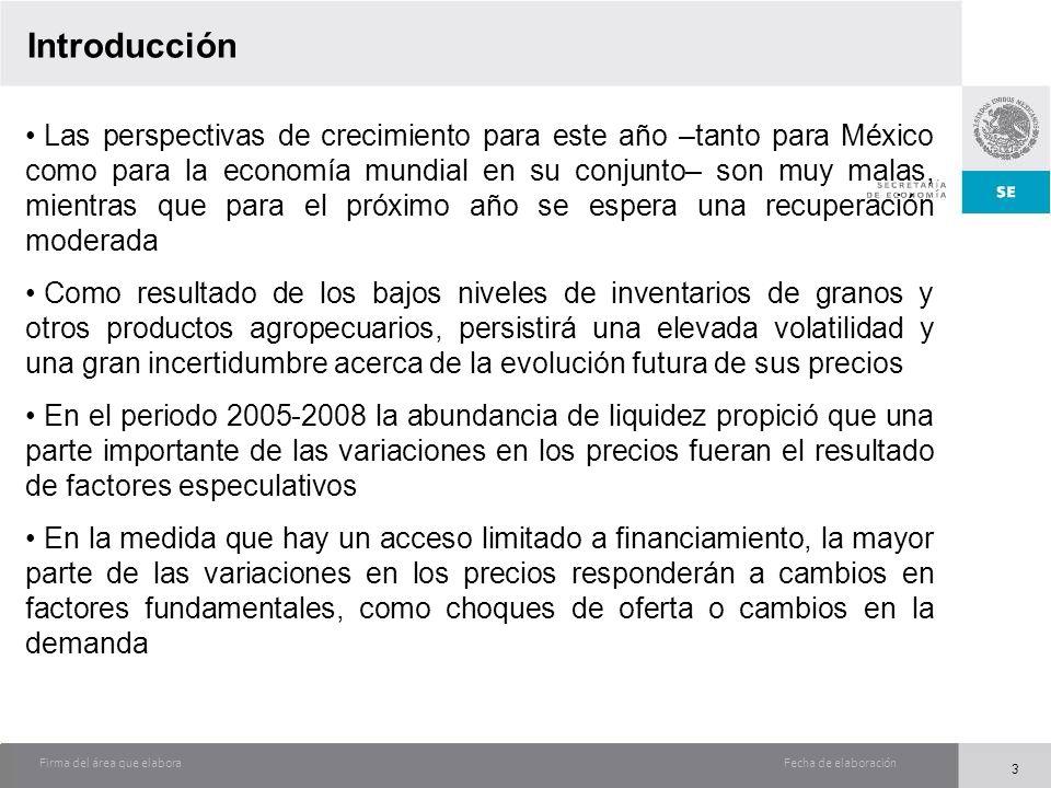 Fecha de elaboraciónFirma del área que elabora Introducción Las perspectivas de crecimiento para este año –tanto para México como para la economía mun