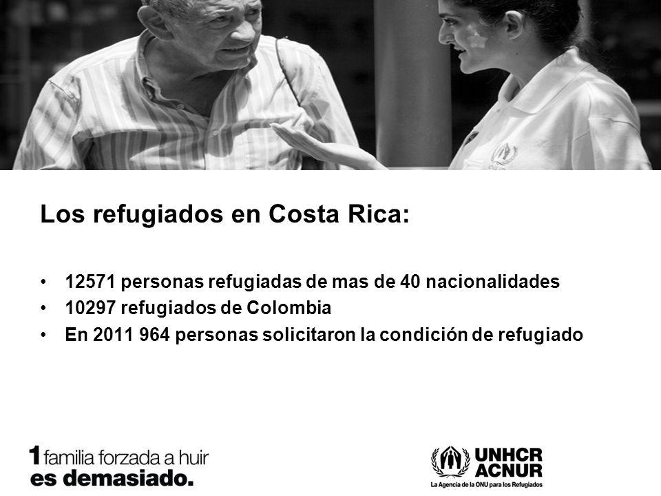 Los refugiados en Costa Rica: 12571 personas refugiadas de mas de 40 nacionalidades 10297 refugiados de Colombia En 2011 964 personas solicitaron la condición de refugiado