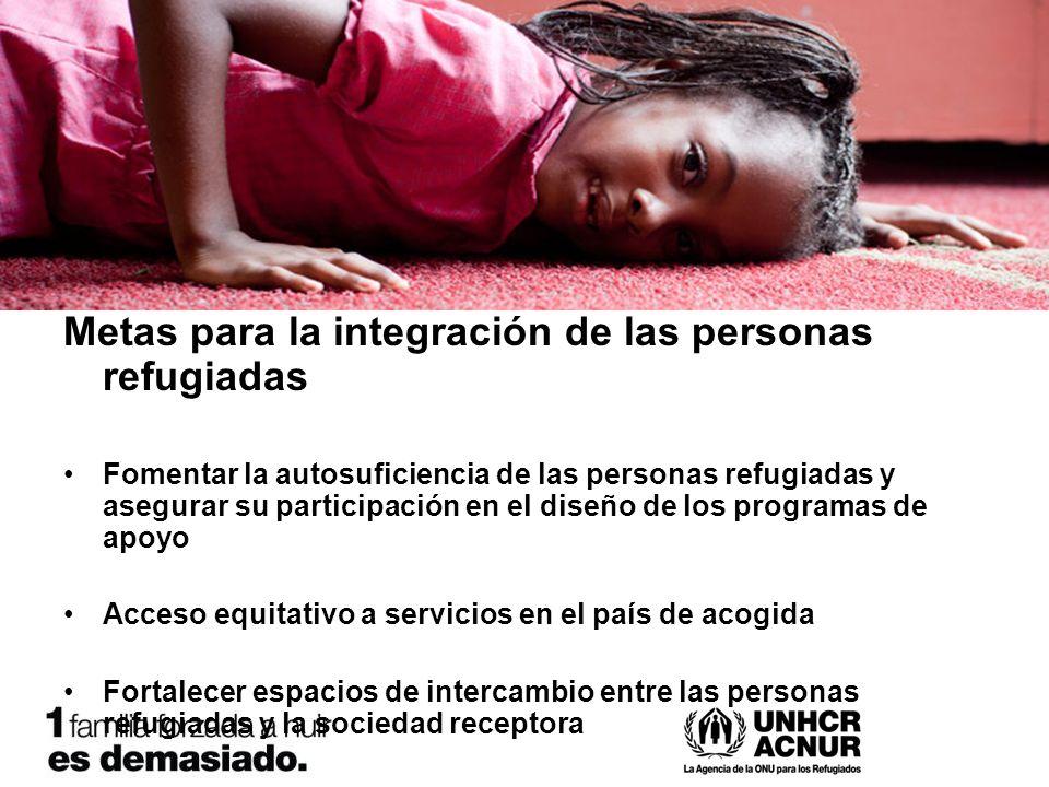Metas para la integración de las personas refugiadas Fomentar la autosuficiencia de las personas refugiadas y asegurar su participación en el diseño de los programas de apoyo Acceso equitativo a servicios en el país de acogida Fortalecer espacios de intercambio entre las personas refugiadas y la sociedad receptora