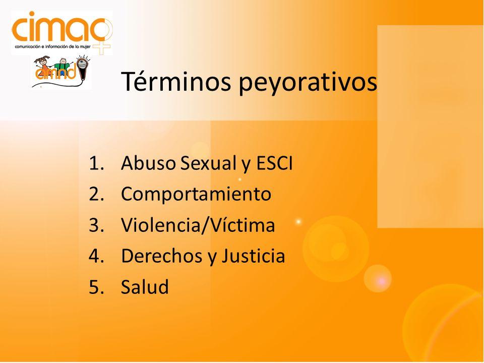 Términos peyorativos 1.Abuso Sexual y ESCI 2.Comportamiento 3.Violencia/Víctima 4.Derechos y Justicia 5.Salud