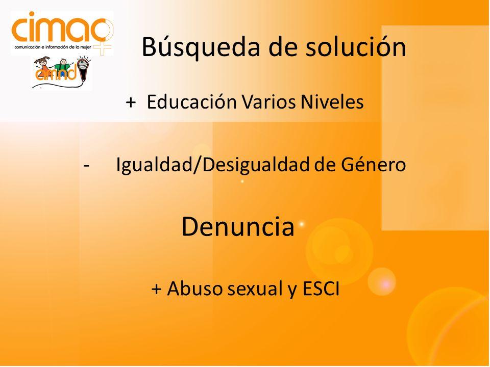 Búsqueda de solución + Educación Varios Niveles -Igualdad/Desigualdad de Género Denuncia + Abuso sexual y ESCI