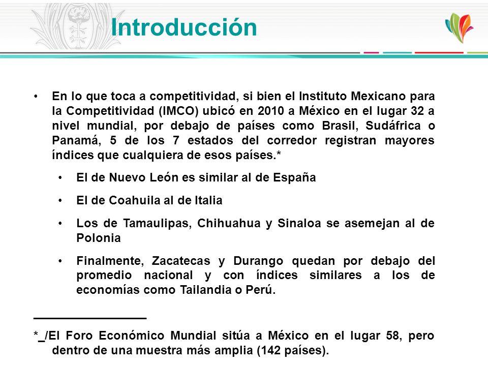 En lo que toca a competitividad, si bien el Instituto Mexicano para la Competitividad (IMCO) ubicó en 2010 a México en el lugar 32 a nivel mundial, po