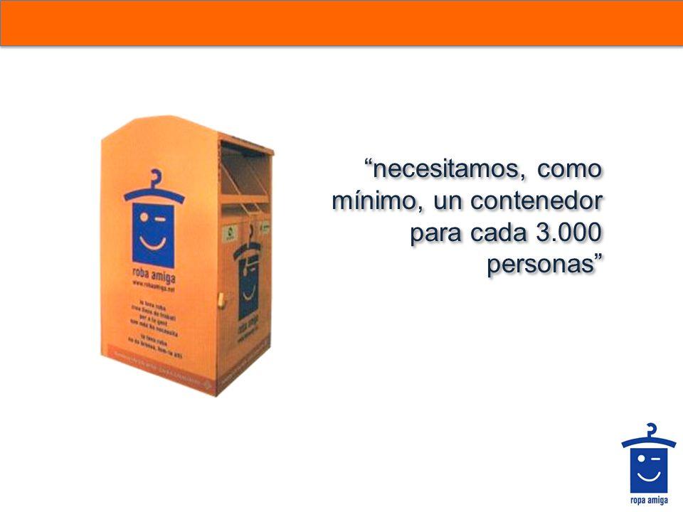 necesitamos, como mínimo, un contenedor para cada 3.000 personas