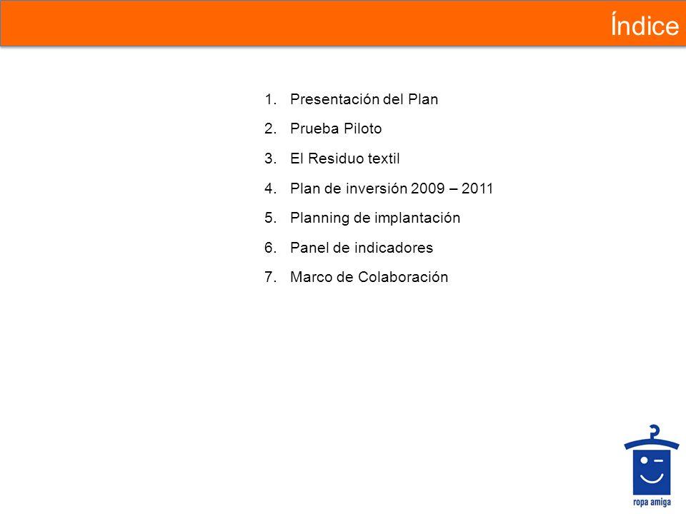 Índice 1.Presentación del Plan 2.Prueba Piloto 3.El Residuo textil 4.Plan de inversión 2009 – 2011 5.Planning de implantación 6.Panel de indicadores 7