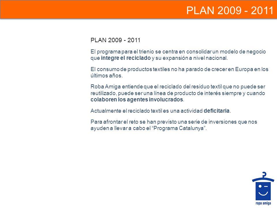 PLAN 2009 - 2011 El programa para el trienio se centra en consolidar un modelo de negocio que integre el reciclado y su expansión a nivel nacional. El
