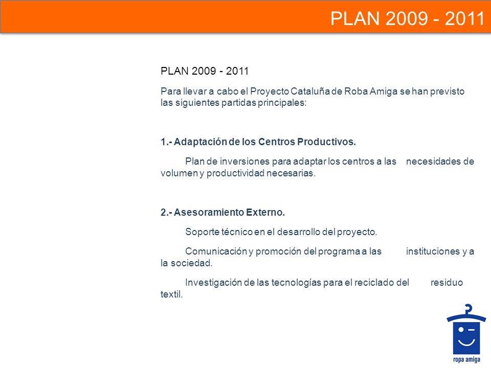 Para llevar a cabo el Proyecto Cataluña de Roba Amiga se han previsto las siguientes partidas principales: 1.- Adaptación de los Centros Productivos.