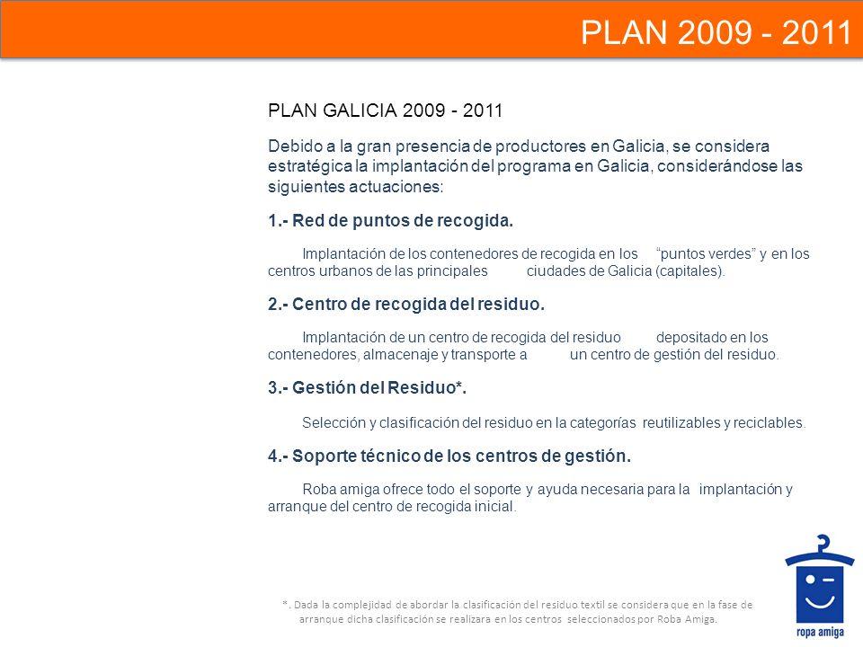 PLAN GALICIA 2009 - 2011 Debido a la gran presencia de productores en Galicia, se considera estratégica la implantación del programa en Galicia, consi