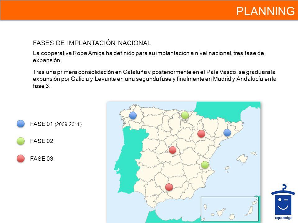 PLANNING La cooperativa Roba Amiga ha definido para su implantación a nivel nacional, tres fase de expansión. Tras una primera consolidación en Catalu
