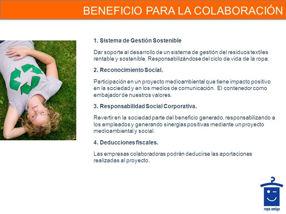BENEFICIO PARA LA COLABORACIÓN 1. Sistema de Gestión Sostenible Dar soporte al desarrollo de un sistema de gestión del residuos textiles rentable y so