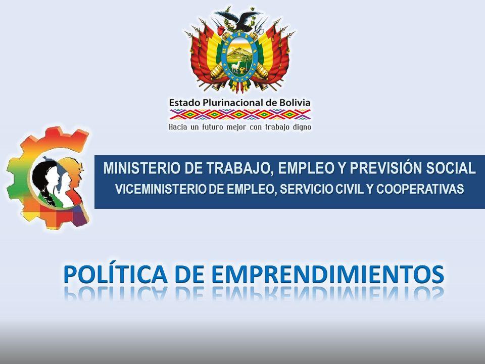 MINISTERIO DE TRABAJO, EMPLEO Y PREVISIÓN SOCIAL VICEMINISTERIO DE EMPLEO, SERVICIO CIVIL Y COOPERATIVAS