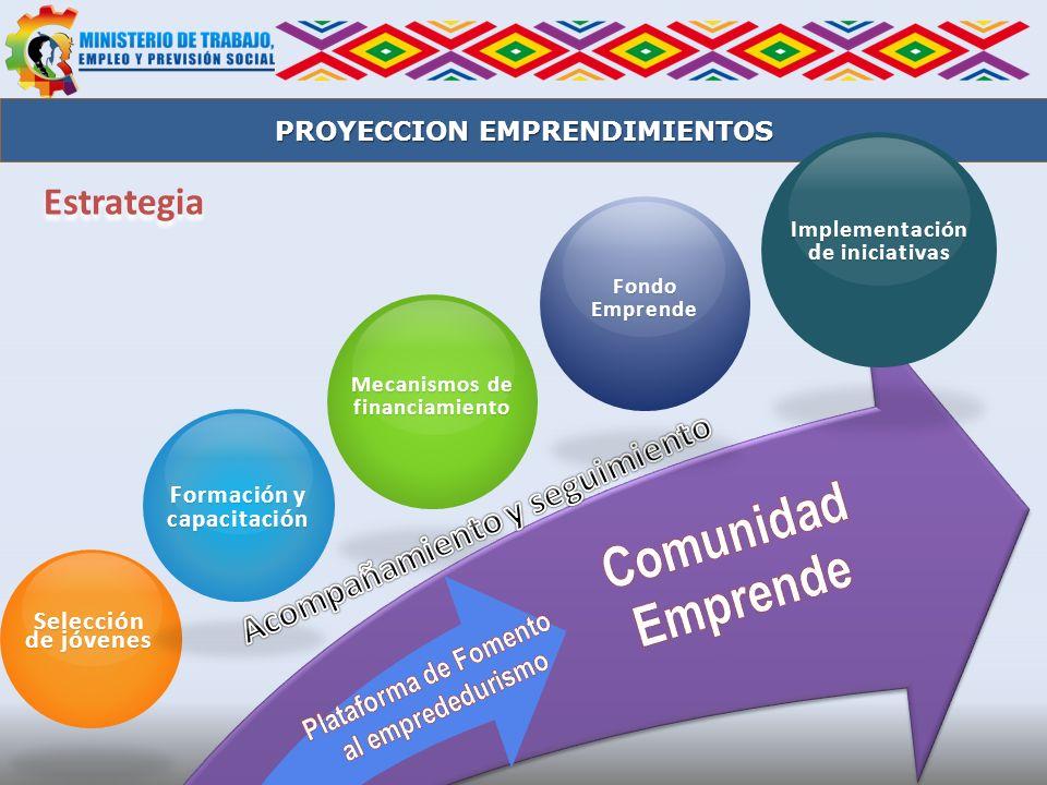 Estrategia Selección de jóvenes Formación y capacitación Mecanismos de financiamiento PROYECCION EMPRENDIMIENTOS FondoEmprende Implementación de inici