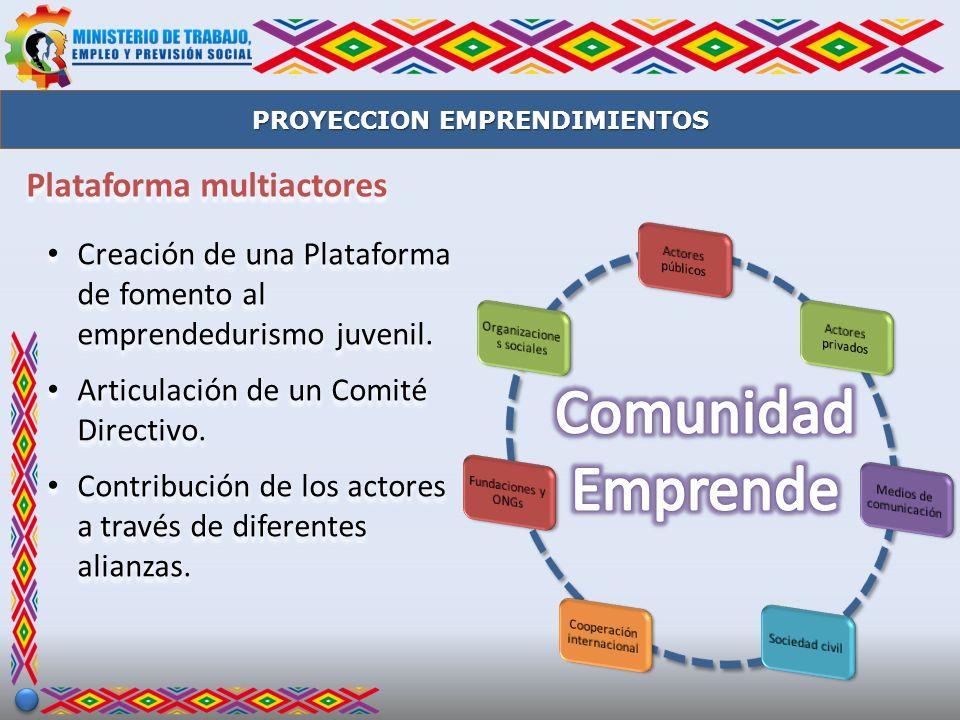 Plataforma multiactores Creación de una Plataforma de fomento al emprendedurismo juvenil. Articulación de un Comité Directivo. Contribución de los act