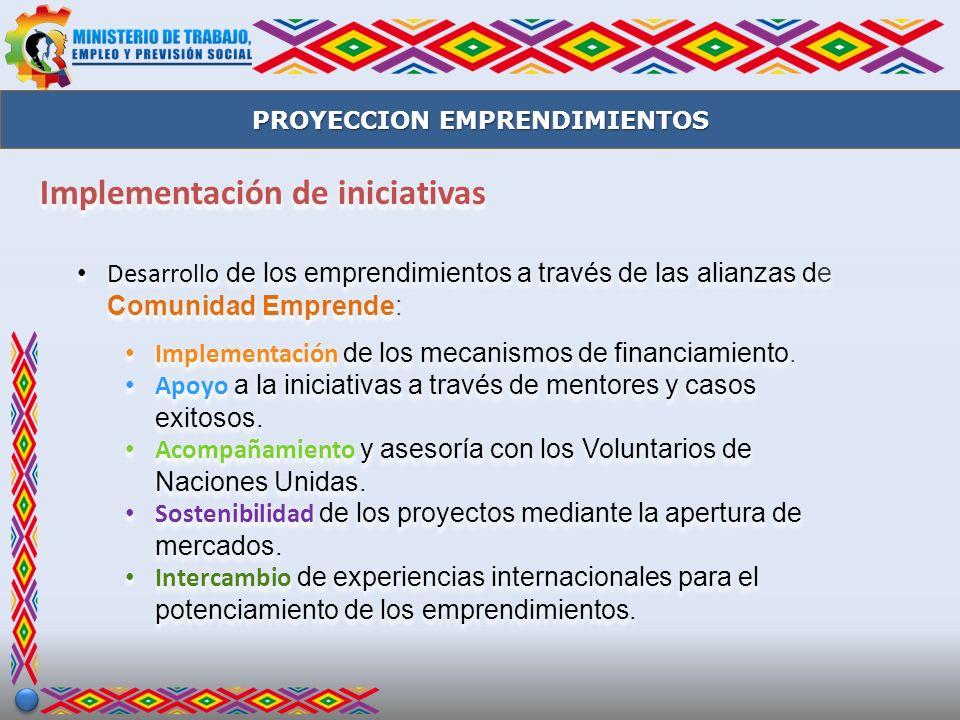 Implementación de iniciativas Desarrollo de los emprendimientos a través de las alianzas de Comunidad Emprende: Implementación de los mecanismos de fi