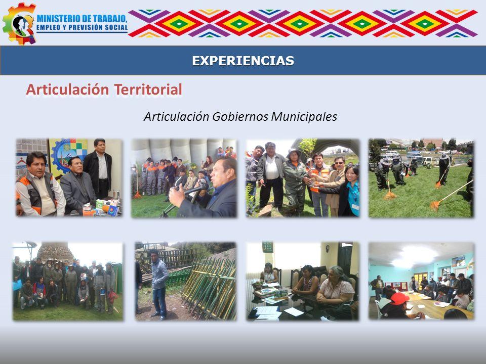 EXPERIENCIAS Articulación Gobiernos Municipales Articulación Territorial