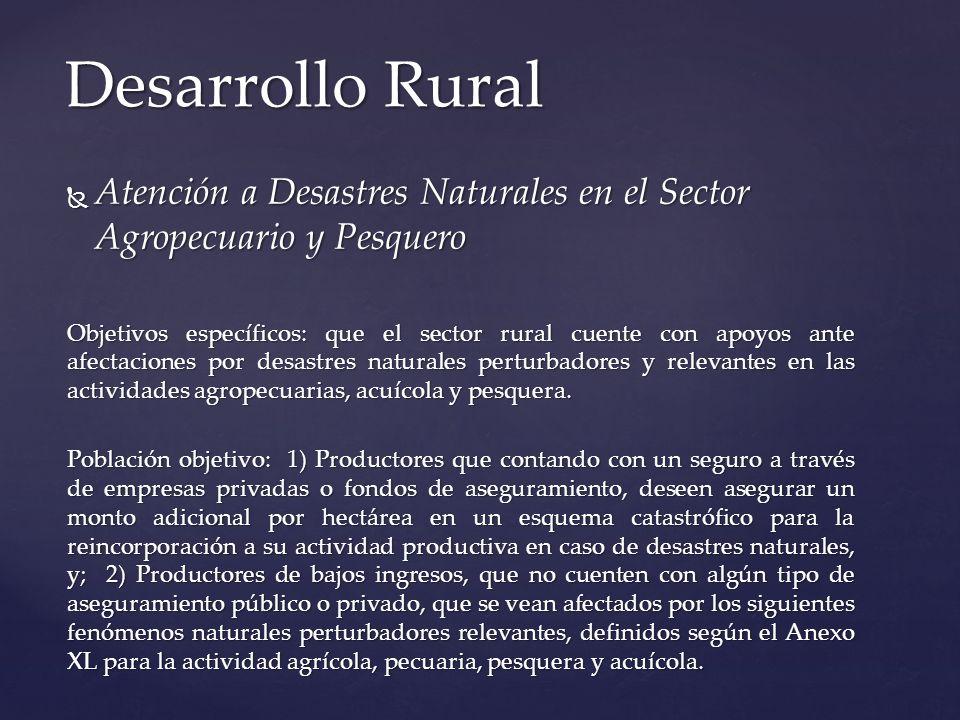 Atención a Desastres Naturales en el Sector Agropecuario y Pesquero Atención a Desastres Naturales en el Sector Agropecuario y Pesquero Objetivos espe