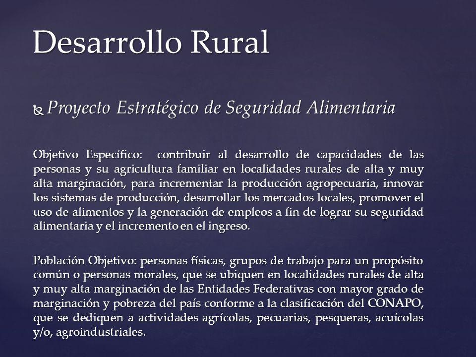 Proyecto Estratégico de Seguridad Alimentaria Proyecto Estratégico de Seguridad Alimentaria Objetivo Específico: contribuir al desarrollo de capacidad