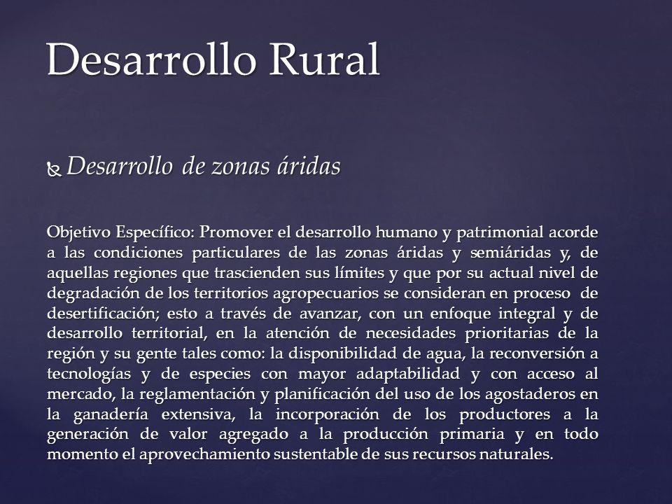 Desarrollo de zonas áridas Desarrollo de zonas áridas Objetivo Específico: Promover el desarrollo humano y patrimonial acorde a las condiciones partic