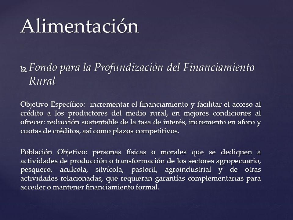 Fondo para la Profundización del Financiamiento Rural Fondo para la Profundización del Financiamiento Rural Objetivo Específico: incrementar el financ