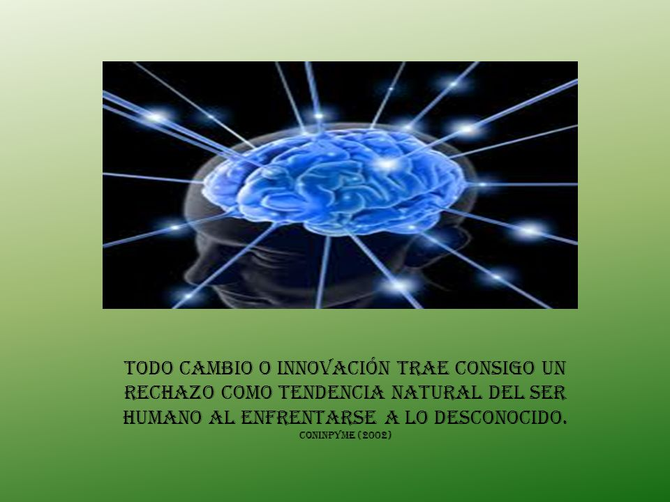 Todo cambio o innovación trae consigo un rechazo como tendencia natural del ser humano al enfrentarse a lo desconocido. CONINPYME (2002)
