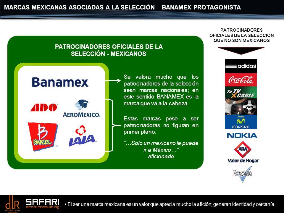 MARCAS MEXICANAS ASOCIADAS A LA SELECCIÓN – BANAMEX PROTAGONISTA PATROCINADORES OFICIALES DE LA SELECCIÓN - MEXICANOS Se valora mucho que los patrocin