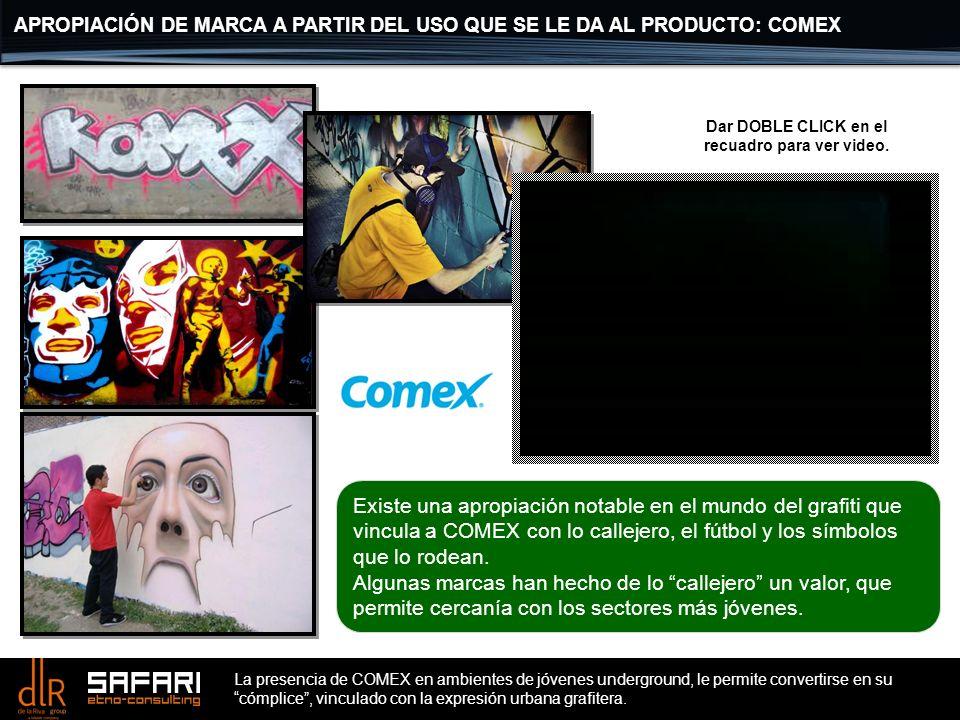 La presencia de COMEX en ambientes de jóvenes underground, le permite convertirse en su cómplice, vinculado con la expresión urbana grafitera. Existe