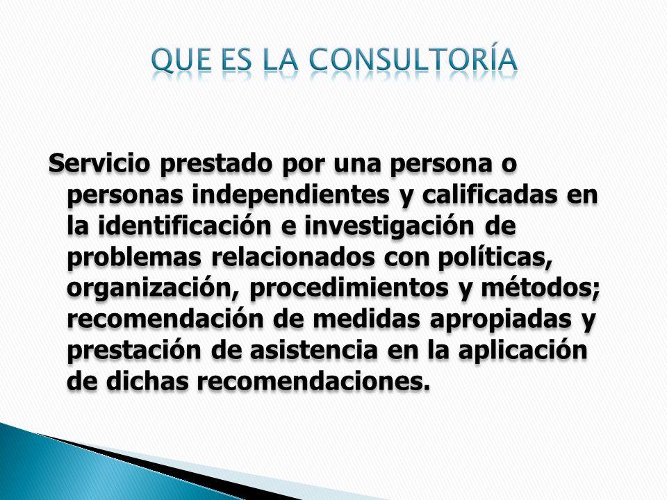Servicio prestado por una persona o personas independientes y calificadas en la identificación e investigación de problemas relacionados con políticas