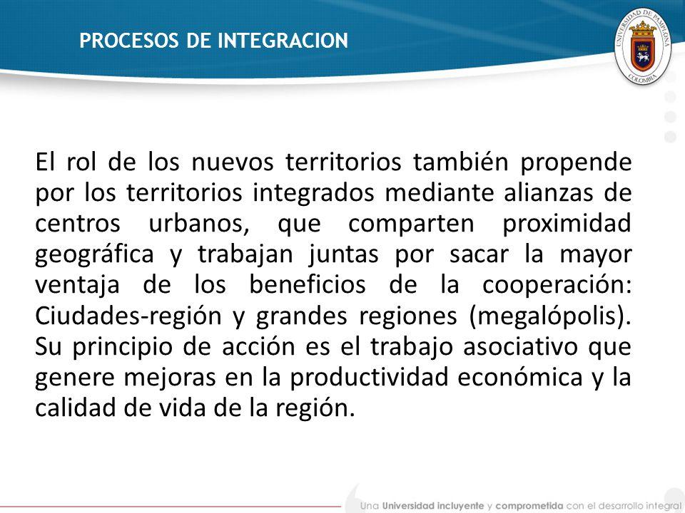 PROCESOS DE INTEGRACION El rol de los nuevos territorios también propende por los territorios integrados mediante alianzas de centros urbanos, que com
