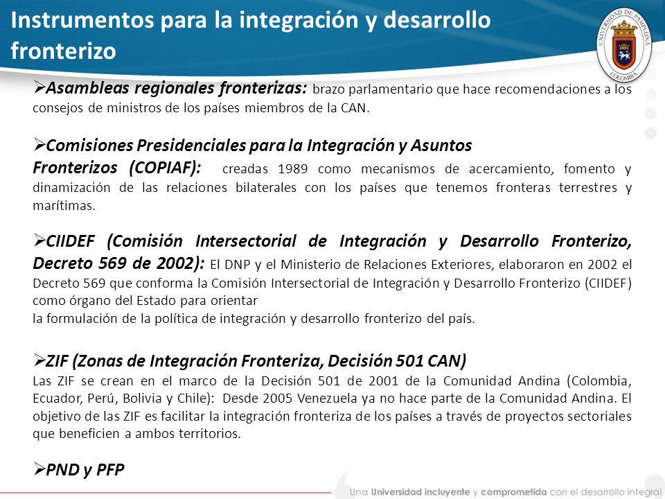 Instrumentos para la integración y desarrollo fronterizo Asambleas regionales fronterizas: brazo parlamentario que hace recomendaciones a los consejos