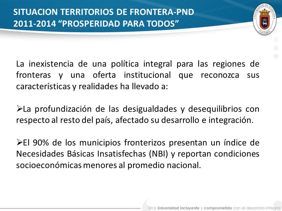 SITUACION TERRITORIOS DE FRONTERA-PND 2011-2014 PROSPERIDAD PARA TODOS La inexistencia de una política integral para las regiones de fronteras y una o
