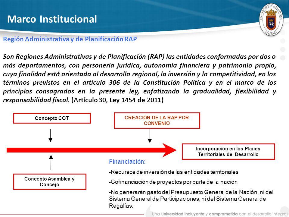 Marco Institucional Región Administrativa y de Planificación RAP Son Regiones Administrativas y de Planificación (RAP) las entidades conformadas por d