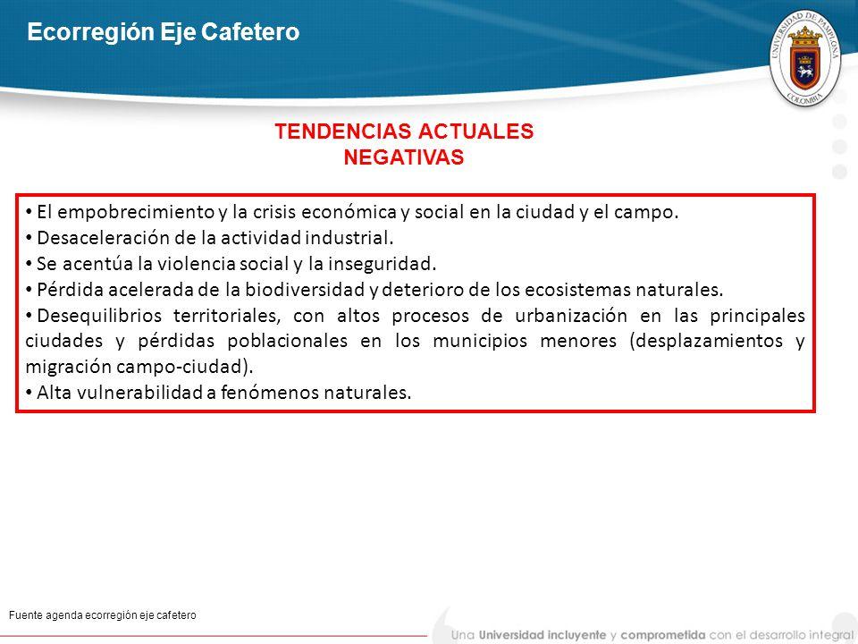 Ecorregión Eje Cafetero Fuente agenda ecorregión eje cafetero El empobrecimiento y la crisis económica y social en la ciudad y el campo. Desaceleració