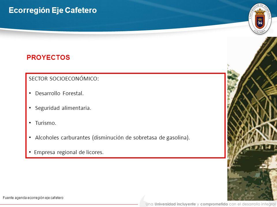 Ecorregión Eje Cafetero Fuente agenda ecorregión eje cafetero SECTOR SOCIOECONÓMICO: Desarrollo Forestal. Seguridad alimentaria. Turismo. Alcoholes ca