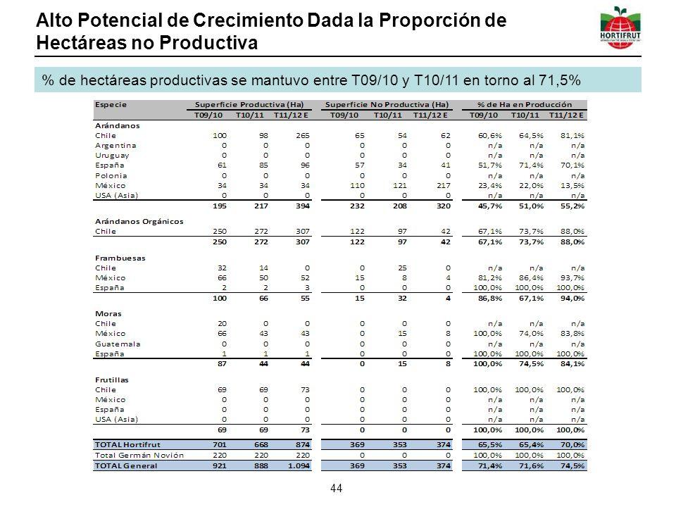 Alto Potencial de Crecimiento Dada la Proporción de Hectáreas no Productiva 44 % de hectáreas productivas se mantuvo entre T09/10 y T10/11 en torno al 71,5%