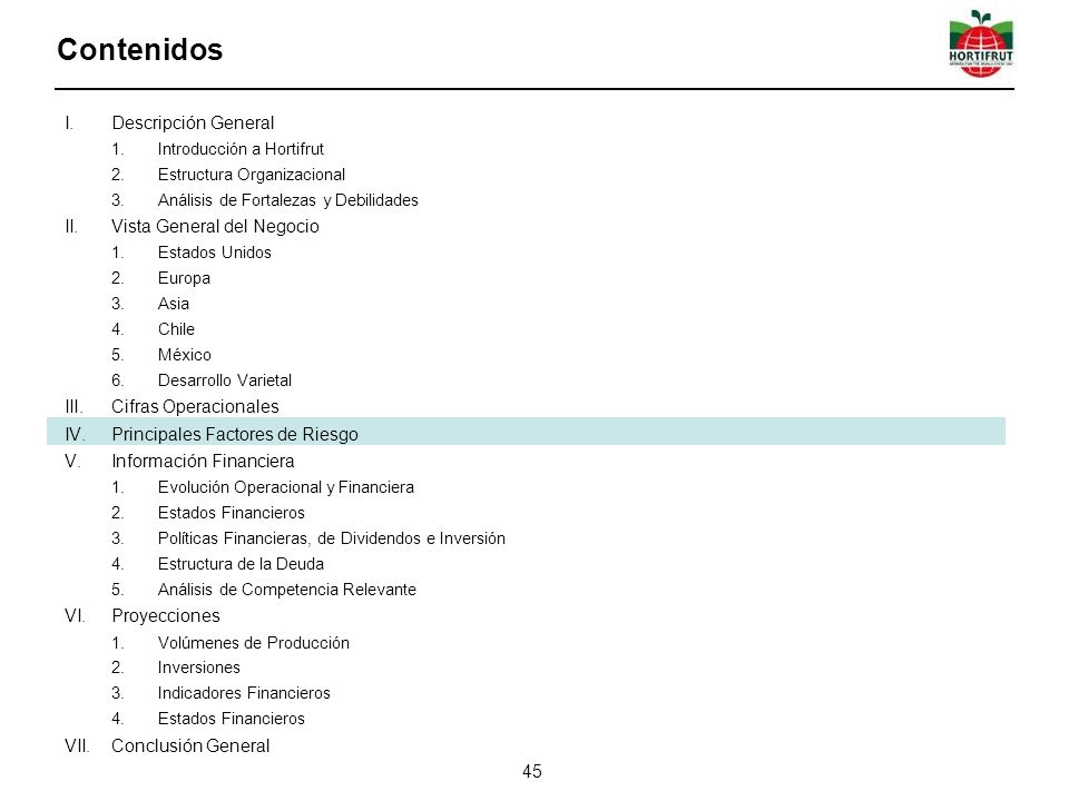 I.Descripción General 1.Introducción a Hortifrut 2.Estructura Organizacional 3.Análisis de Fortalezas y Debilidades II.Vista General del Negocio 1.Estados Unidos 2.Europa 3.Asia 4.Chile 5.México 6.Desarrollo Varietal III.Cifras Operacionales IV.Principales Factores de Riesgo V.Información Financiera 1.Evolución Operacional y Financiera 2.Estados Financieros 3.Políticas Financieras, de Dividendos e Inversión 4.Estructura de la Deuda 5.Análisis de Competencia Relevante VI.Proyecciones 1.Volúmenes de Producción 2.Inversiones 3.Indicadores Financieros 4.Estados Financieros VII.Conclusión General Contenidos 45