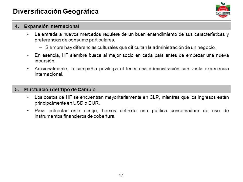 Diversificación Geográfica 47 4.Expansión Internacional La entrada a nuevos mercados requiere de un buen entendimiento de sus características y preferencias de consumo particulares.