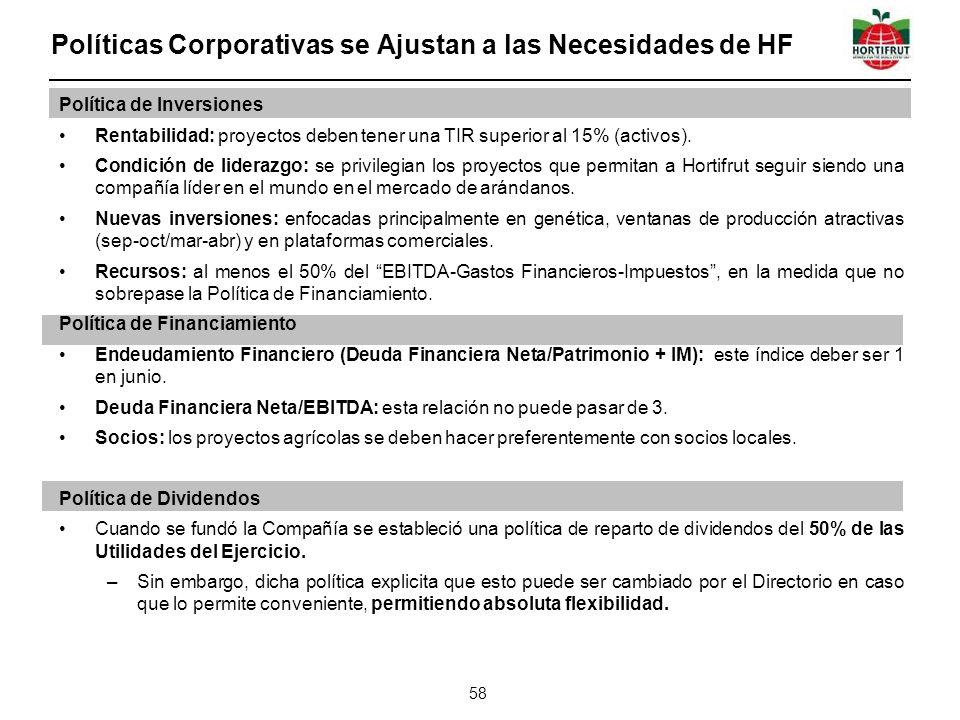 Políticas Corporativas se Ajustan a las Necesidades de HF 58 Política de Inversiones Rentabilidad: proyectos deben tener una TIR superior al 15% (activos).