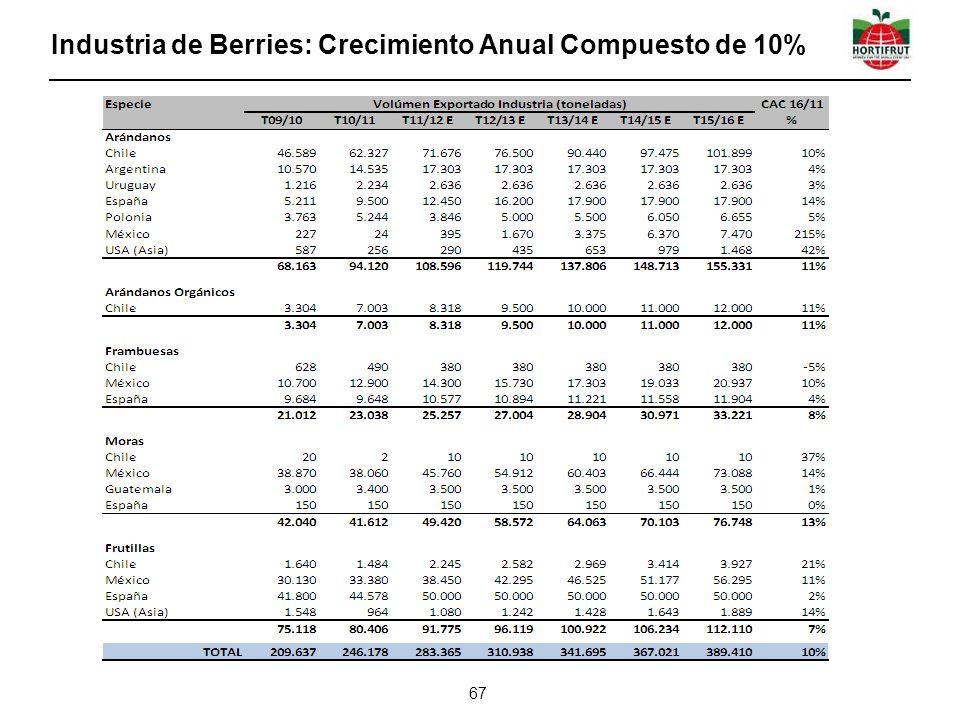 Industria de Berries: Crecimiento Anual Compuesto de 10% 67
