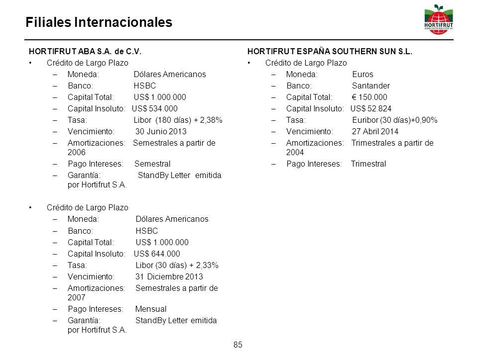 Filiales Internacionales 85 HORTIFRUT ABA S.A. de C.V. Crédito de Largo Plazo –Moneda: Dólares Americanos –Banco: HSBC –Capital Total: US$ 1.000.000 –