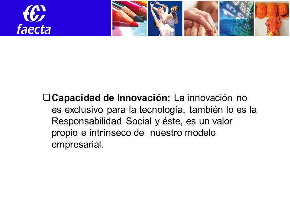 Capacidad de Innovación: La innovación no es exclusivo para la tecnología, también lo es la Responsabilidad Social y éste, es un valor propio e intrínseco de nuestro modelo empresarial.