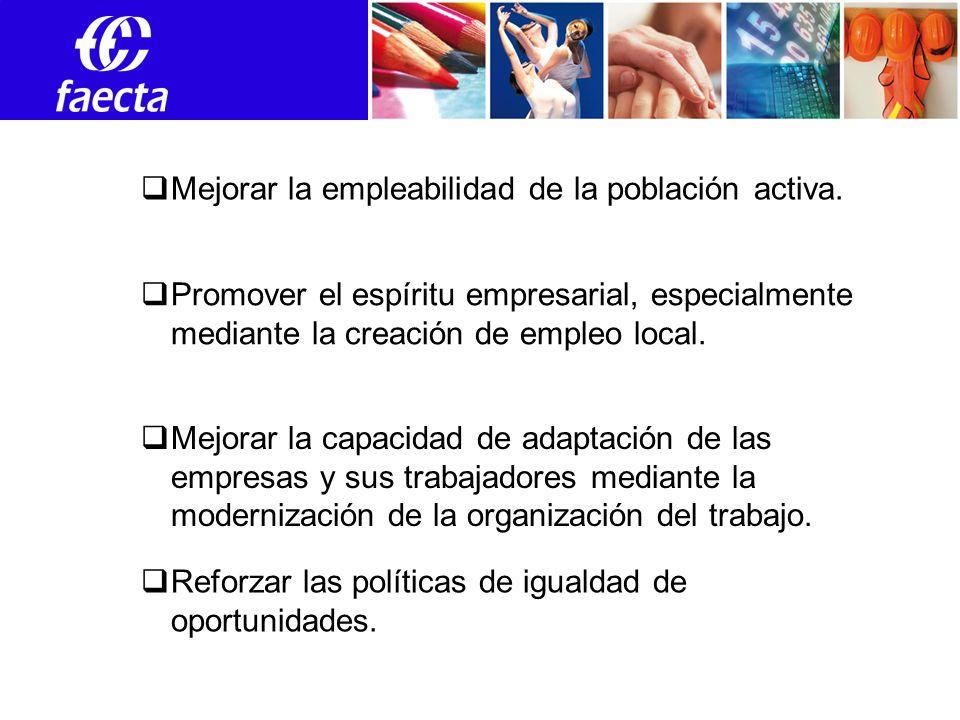 Empleos Promover el espíritu empresarial, especialmente mediante la creación de empleo local.