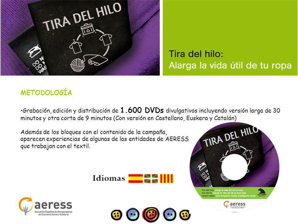 METODOLOGÍA Grabación, edición y distribución de 1.600 DVDs divulgativos incluyendo versión larga de 30 minutos y otra corta de 9 minutos (Con versión