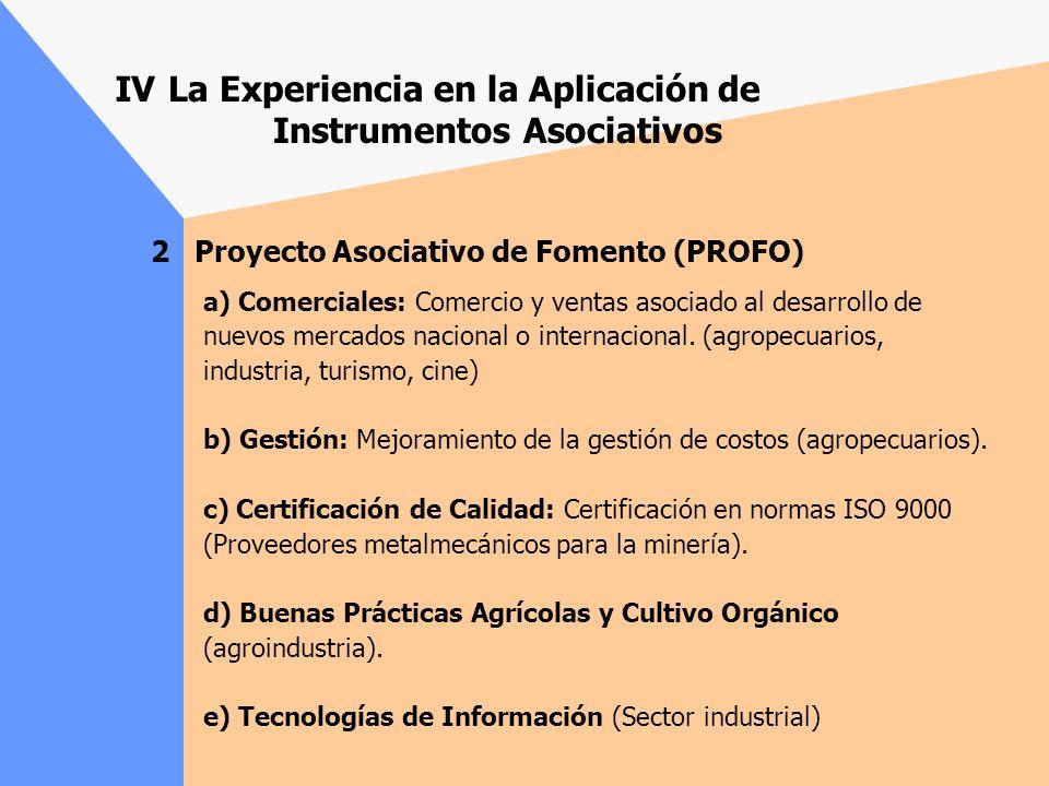 2 Proyecto Asociativo de Fomento (PROFO) Instrumento de gran éxito, demandado por todos los sectores productivos y por empresas de todos los tamaños (