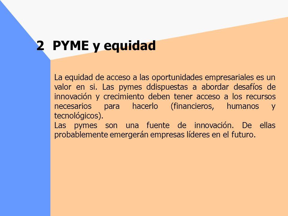 2 PYME y equidad La equidad de acceso a las oportunidades empresariales es un valor en si.