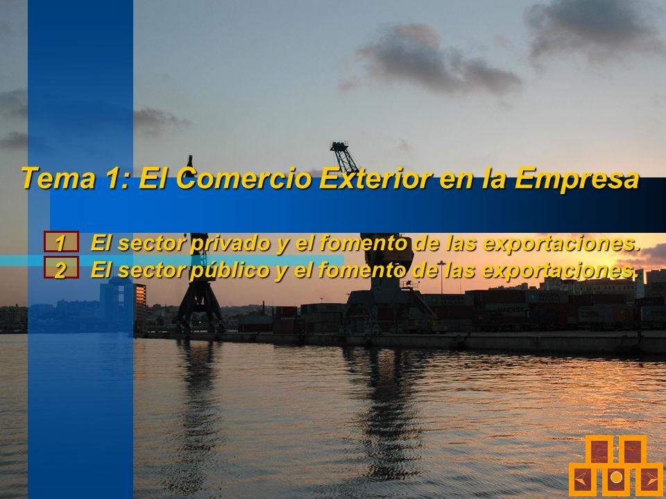 Tema 1: El Comercio Exterior en la Empresa El sector privado y el fomento de las exportaciones. El sector público y el fomento de las exportaciones. 1