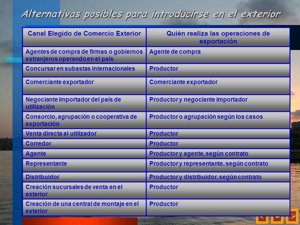 Alternativas posibles para introducirse en el exterior Canal Elegido de Comercio ExteriorQuién realiza las operaciones de exportación Agentes de compr
