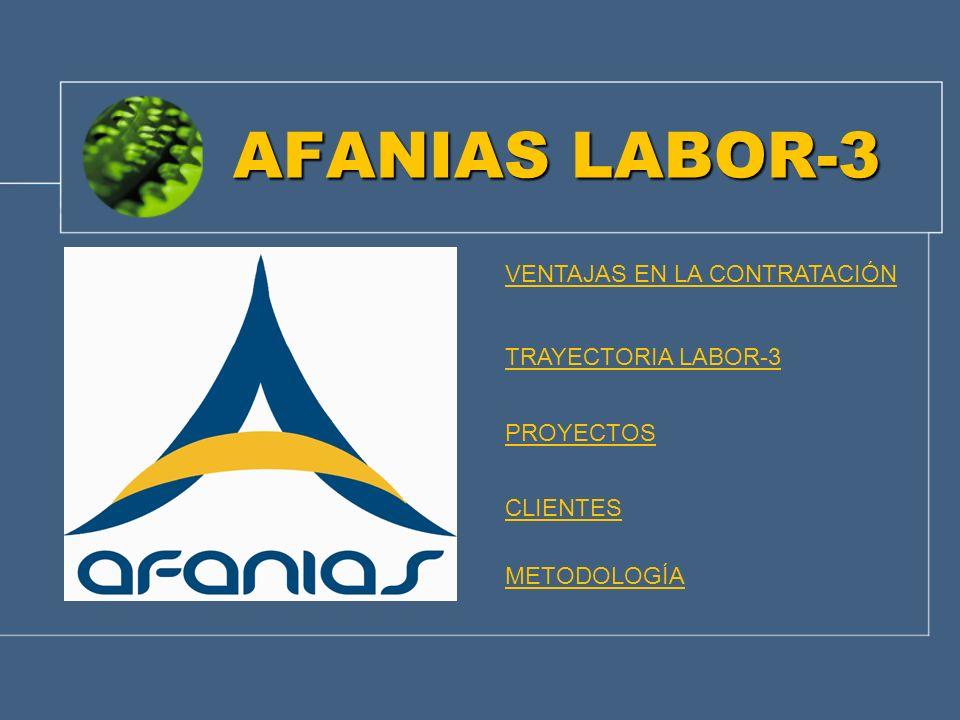 AFANIAS LABOR-3 VENTAJAS EN LA CONTRATACIÓN TRAYECTORIA LABOR-3 PROYECTOS CLIENTES METODOLOGÍA