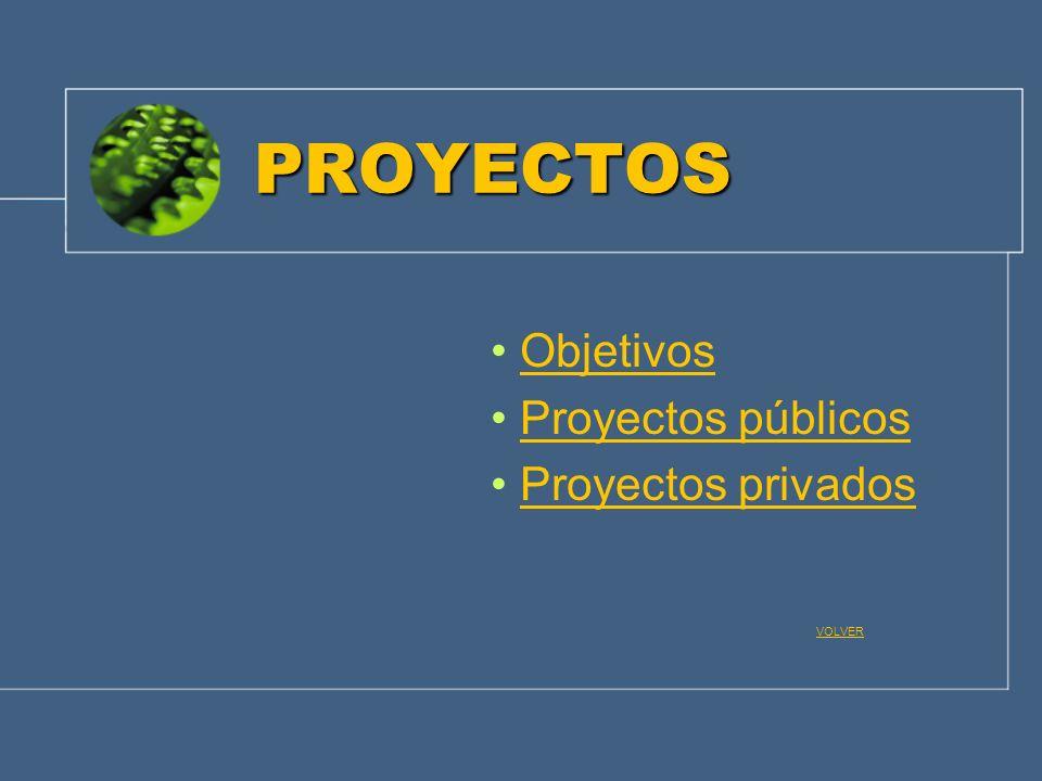 PROYECTOS Objetivos Proyectos públicos Proyectos privados VOLVER