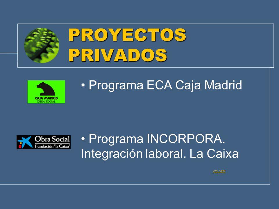 PROYECTOS PRIVADOS Programa ECA Caja Madrid Programa INCORPORA. Integración laboral. La Caixa VOLVER