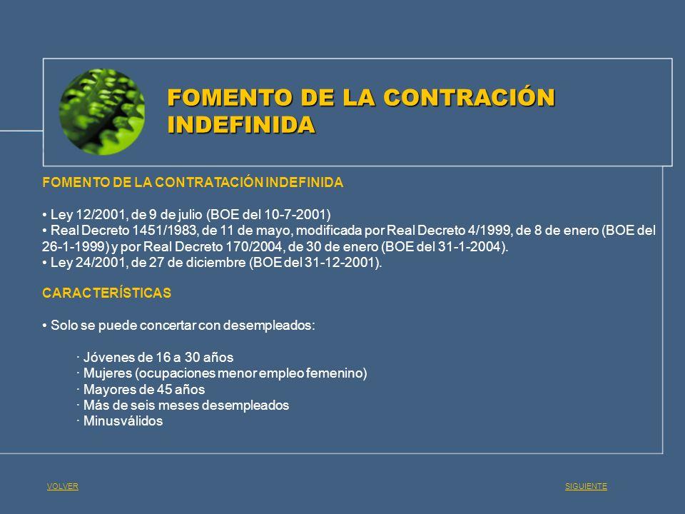 FOMENTO DE LA CONTRACIÓN INDEFINIDA FOMENTO DE LA CONTRATACIÓN INDEFINIDA Ley 12/2001, de 9 de julio (BOE del 10-7-2001) Real Decreto 1451/1983, de 11