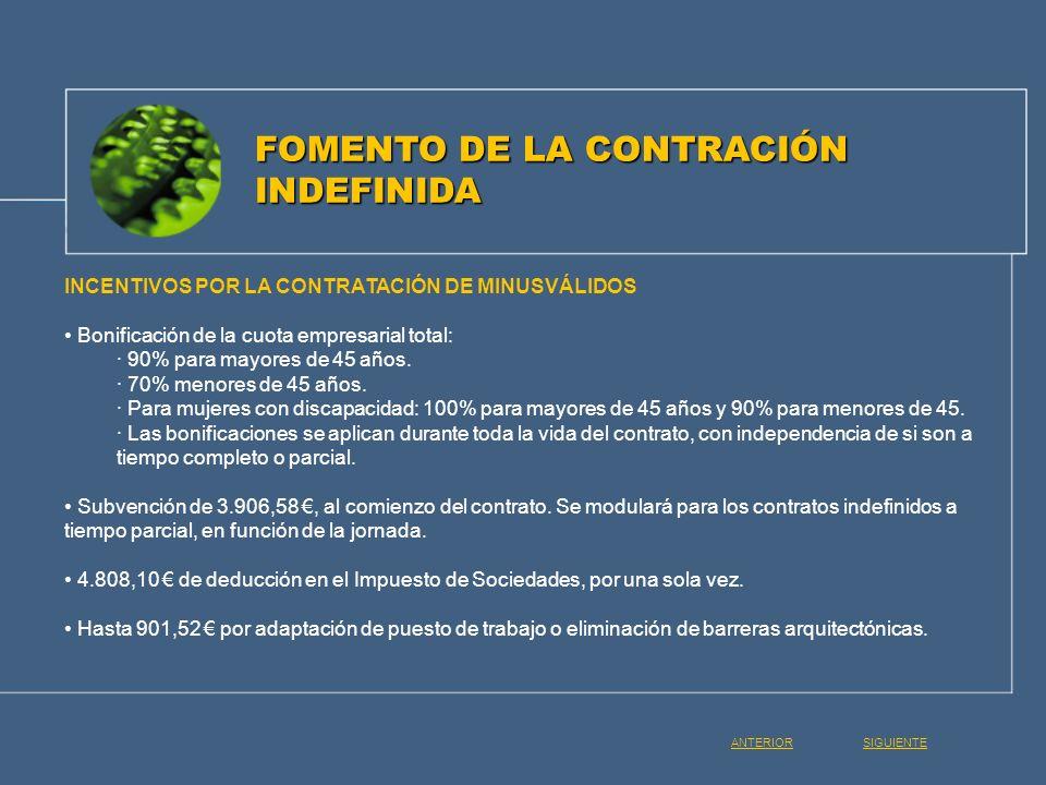 INCENTIVOS POR LA CONTRATACIÓN DE MINUSVÁLIDOS Bonificación de la cuota empresarial total: · 90% para mayores de 45 años. · 70% menores de 45 años. ·